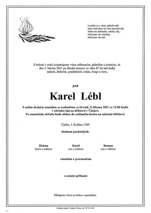 Smuteční oznámení: Karel Lébl.
