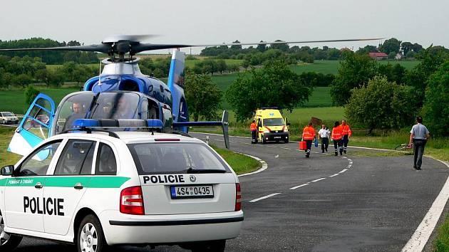 Zraněný cyklista u Bykáně.