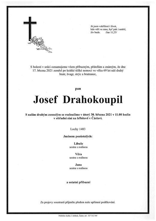 Smuteční oznámení: Josef Drahokoupil.