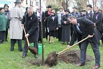 Slavnostní zasazení lípy na prostranství u prvorepublikové Dajbychovy vily v Kutné Hoře.