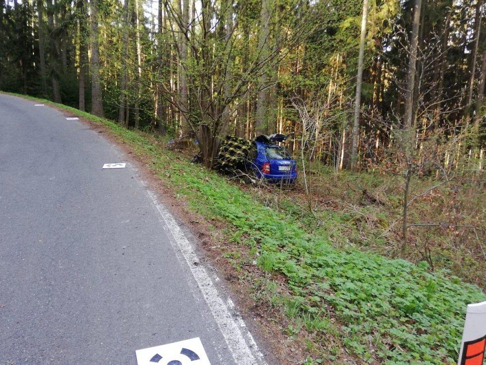 Tragická dopravní nehoda na silnici II/336 u obce Stará Huť: náraz do stromu.