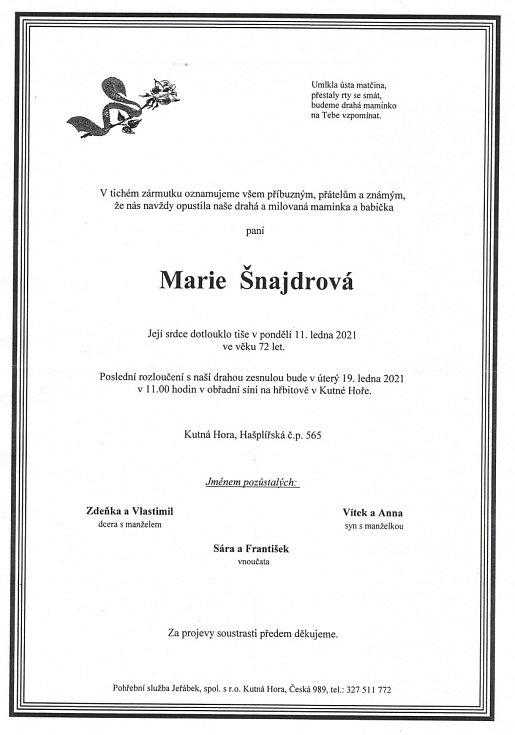 Smuteční parte: Marie Šnajdrová.