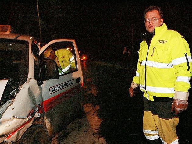 Z místa dopravního nehody v Červených Pečkách.