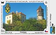 Hrad Pirkštejn v Ratajích nad Sázavou na turistické vizitce.