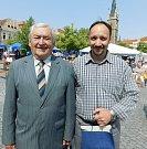 Čáslavské slavnosti 2018: textař Jaroslav Hájek (vlevo) a muzikant Kamil Havelka.