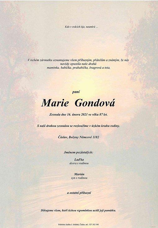 Smuteční parte: Marie Gondová.