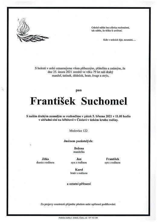Smuteční parte: František Suchomel.