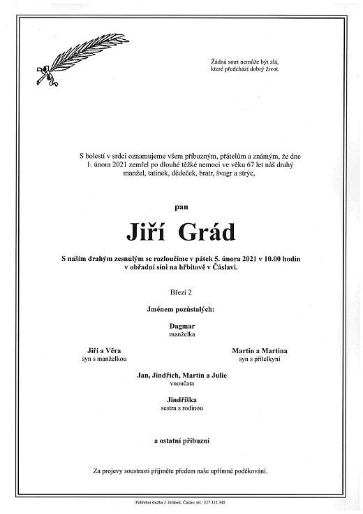Smuteční parte: Jiří Grád.