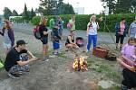 Ze zábavného pochodu 'Šlápoty' pro děti a rodiče ve Zbraslavicích.