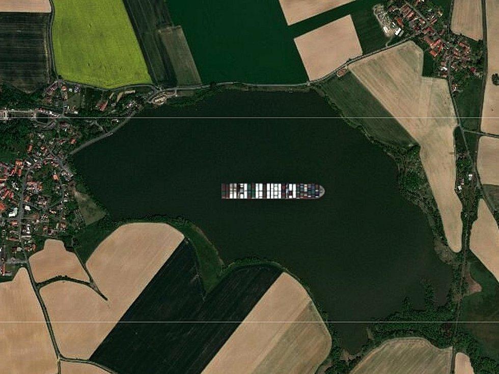 Kontejnerová loď Ever Given na rybníku Vavřinec.