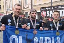 Medailisté z Olympia Spartan Training KH - zleva: Michal Pavlík, Jakub Vrbenský a David Doubrava.