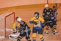 Z utkání kvalifikace o II. hokejovou ligu Nové Město nad Metují - Kutná Hora (2:8).