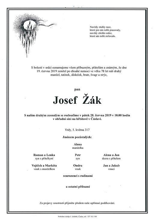 Smuteční parte: Josef Žák.