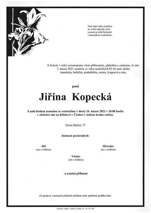 Smuteční parte: Jiřina Kopecká.