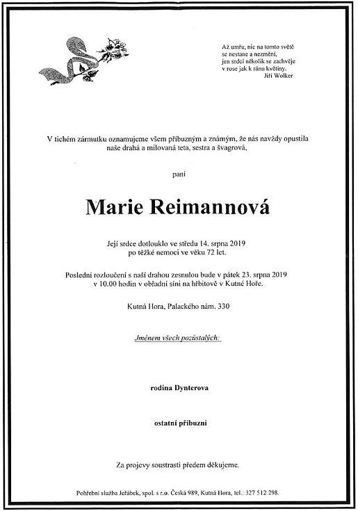 Smuteční parte: Marie Reimannová.