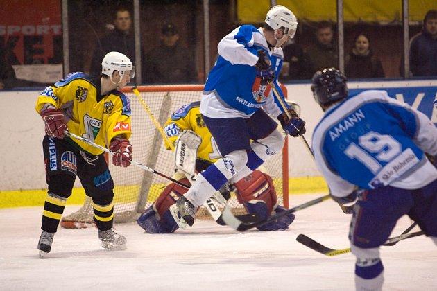 Z hokejového utkání kvalifikace o druhou ligu Kutná Hora - Světlá nad Sázavou (1:3)