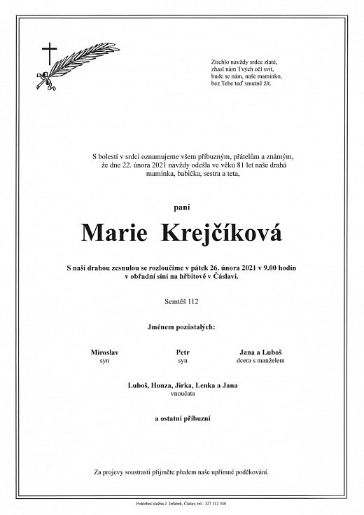 Smuteční parte: Marie Krejčíková.