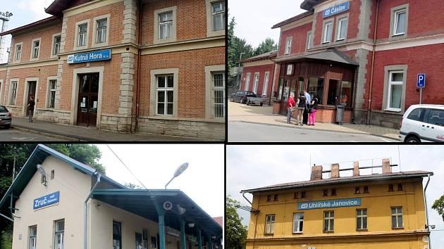 Vlaková nádraží ve městech na Kutnohorsku