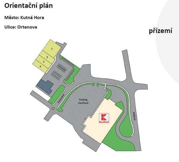 VKutné Hoře vyroste nové obchodní centrum (vyznačeno žlutě)