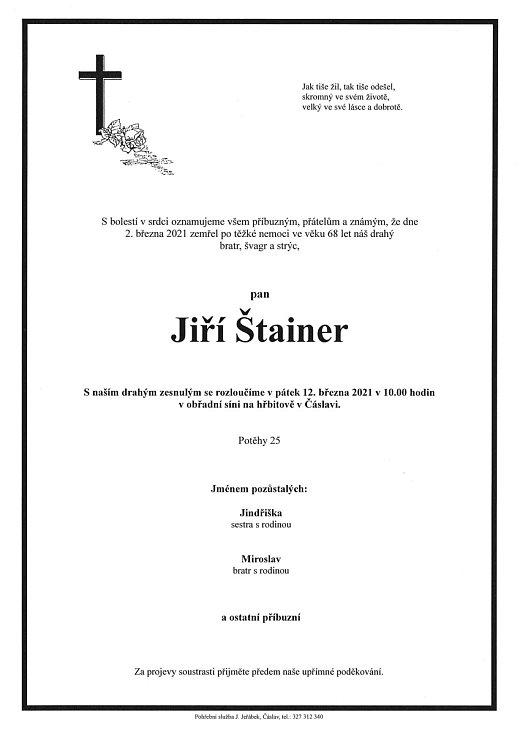 Smuteční oznámení: Jiří Štainer.
