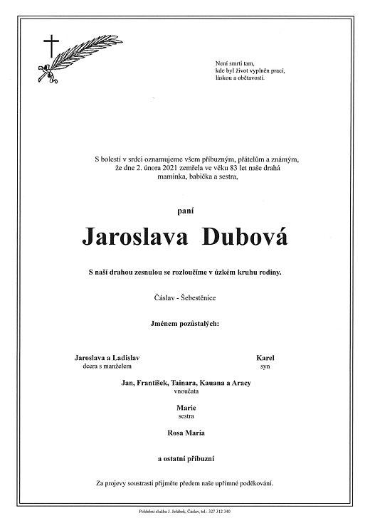 Smuteční parte: Jaroslava Dubová.