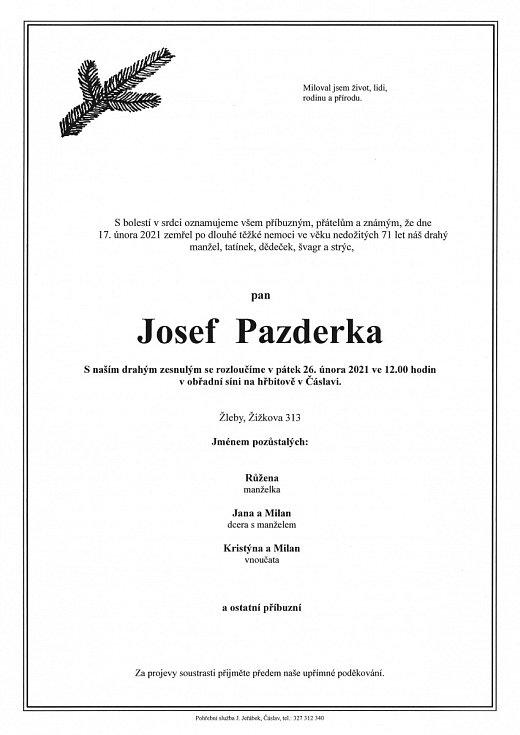 Smuteční parte: Josef Pazderka.