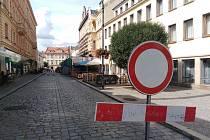 Uzavírka části Kollárovy ulice v Kutné Hoře.