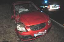 Dopravní nehoda na silnici mezi Církvicí a Kutnou Horou v pátek 8. února 2019.