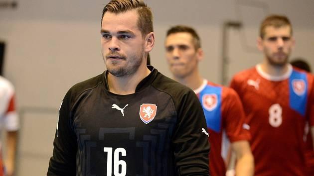 Brankář Benaga Zruč n. S. Ondřej Vahala v dresu české futsalové reprezentace.
