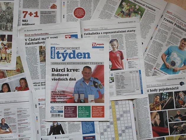 Titulní strana dvacátého čtvrtého čísla týdeníku Kutnohorský týden.