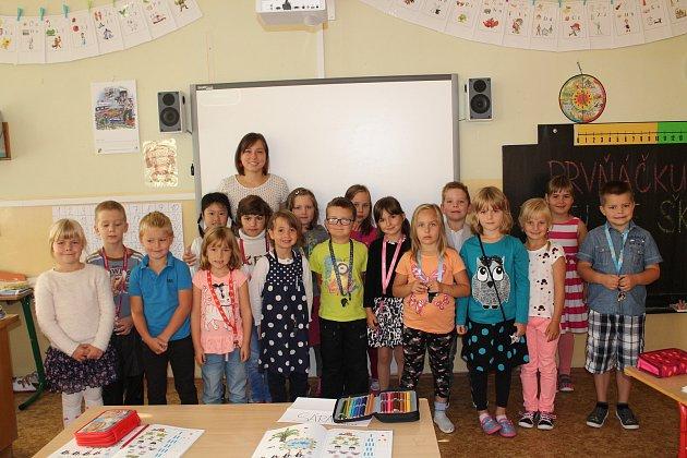 Na fotografii jsou žáci ze ZŠ Jana Palacha vKutné Hoře, třída 1.A. paní učitelky Evy Sosnovcové.