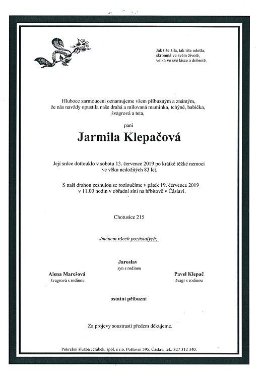 Smuteční parte: Jarmila Klepačová.