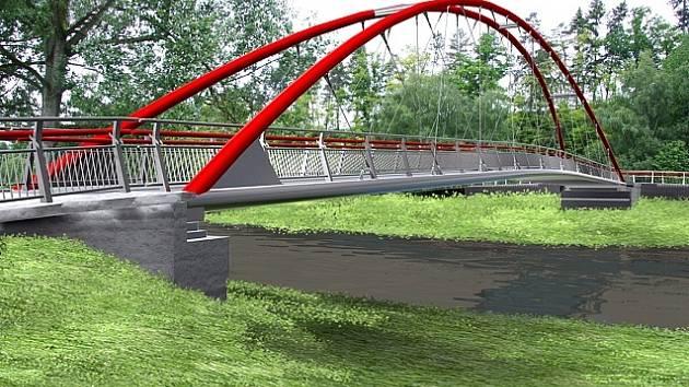 Počítačový pohled na novou lávku přes řeku Sázavu od sportovního stadionu.