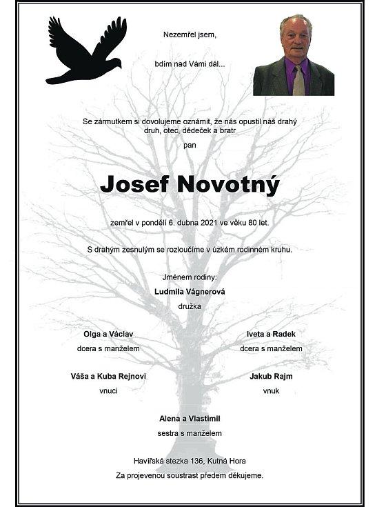 Smuteční oznámení: Josef Novotný.
