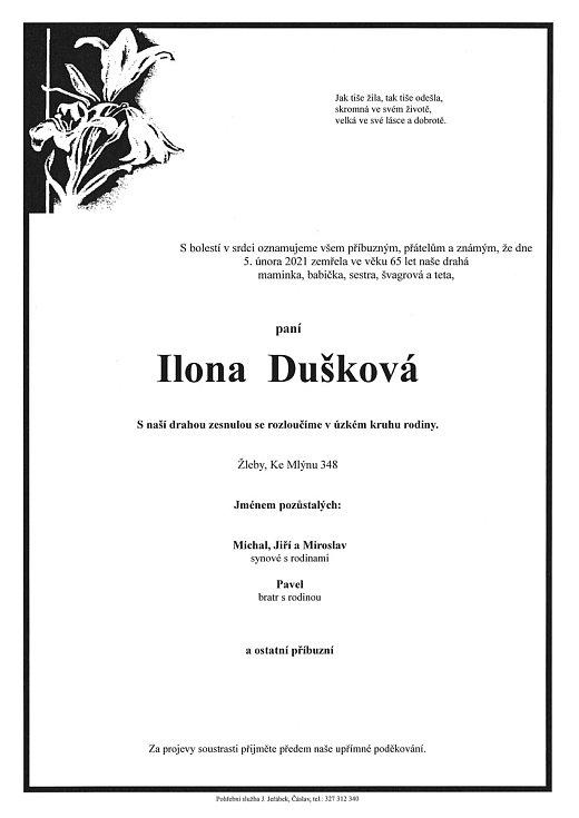Smuteční parte: Ilona Dušková.