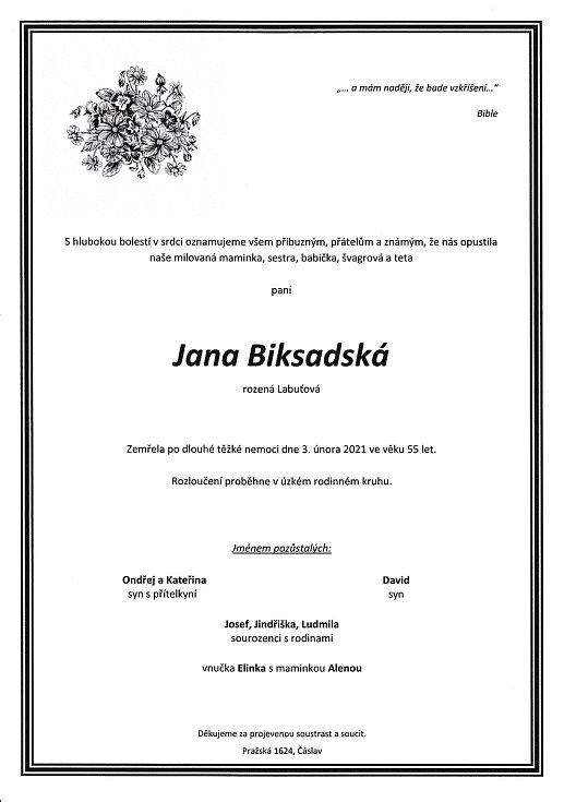 Smuteční parte: Jana Biksadská.