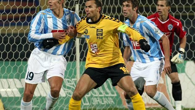 Z utkání druhé fotbalové ligy Jihlava - Čáslav (1:0).