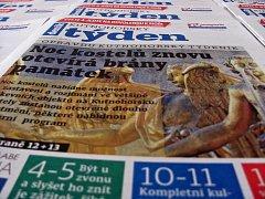 Titulní strana dvacátého prvního čísla týdeníku Kutnohorský týden.