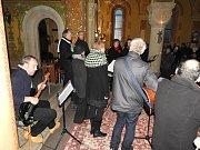 Z koncertu uskupení Freetet v kostele Nanebevzetí Panny Marie v Gruntě.
