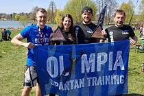 Tým Olympia Spartan Training Kutná Hora. Zleva: Michal Pavlík, Martina Fabiánová, Tomáš Tvrdík a Richard Hrčkulák.
