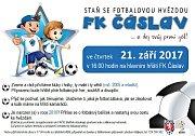 Pozvánka FK Čáslav na nábor dětí.
