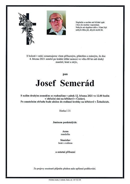 Smuteční oznámení: Josef Semerád.