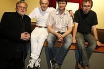 Z představení Kumšt, (zleva) Jan Kačer, Jan Tříska, Jan Hrušínský a Jan Hřebejk.