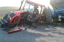 Nehoda automobilu a traktoru u Úmonína 30. září 2014.