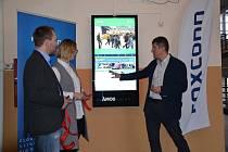 Slavnostní uvedení interaktivního panelu Ámos vision do provozu ve Střední průmyslové škole v Kutné Hoře.
