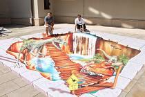 Prezentace obrazu ve stylu 3D streetart ve Spolkovém domě v Kutné Hoře