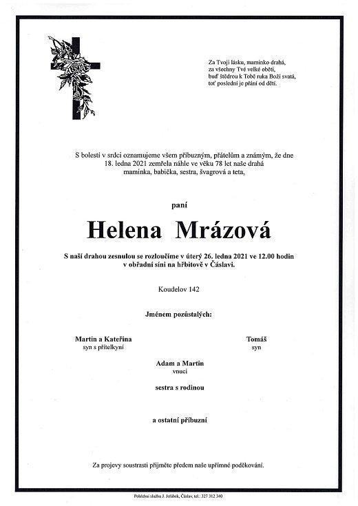 Smuteční parte: Helena Mrázová.