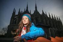 Rychlobruslařka Natálie Brichová, čtyřnásobná medailista z Olympiády dětí a mládeže 2020 v Karlových Varech.
