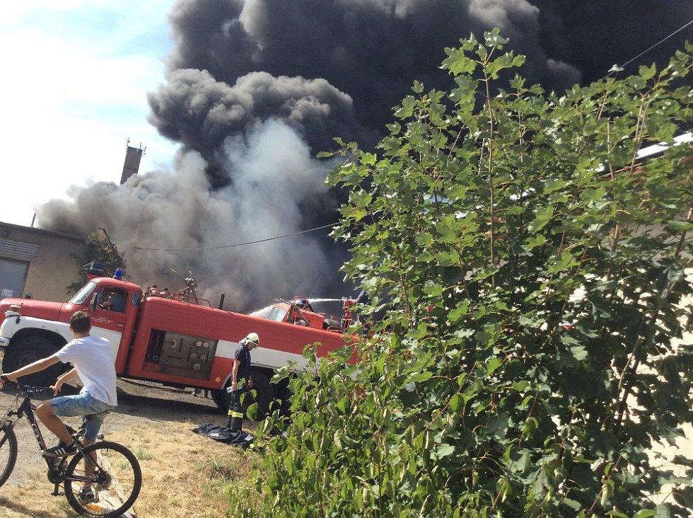 Požár na Karlově v Kutné Hoře.