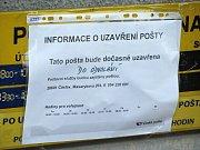 Přepadená a následně do odvolání uzavřená pošta v Tupadlech.